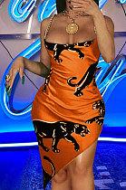 Sexy Condole Belt Leopard Pattarn Package Buttocks Mini Dress AYL4081