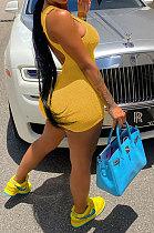 Yoga Pure Color U Neck Sleeveless Sport Romper Slim Backless Shorts Jumpsuit MLM9070