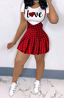 Women Condole Belt Pleated Skirts Sets BLE2287