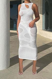 فستان ميدي ضيق مثير للنساء لون نقي FFE120