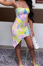Sexy Colorful Printing Condole Belt Hypotenuse Milk Silk Mini Dress FM6214