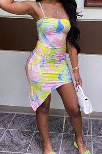 فستان قصير مثير بطباعة ملونة وحزام حليب من الحرير Hypotenuse FM6214