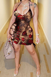 المرأة مثير جلد الثعبان ربط فستان قصير عارية الذراعين FFE129