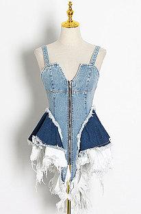Sexy Contrast Color Spliced Cowboy Zipper Lower Hem Irregular Collect Waist Mini Dress TVE24937