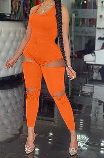 أزياء زراعة المرء الأخلاق للمرأة لون نقي سترة طويلة السراويل حفرة سستة قطعتين AYM5024