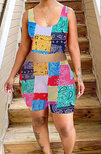Fashion Colorful Printing Vest Shorts Sets ZYL2019