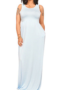 Euramerican Fashion Sleeveless Vest Have Pocket Casual Long Dress E8597