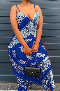 Fashion Positioning Printing Sling Adjust Long Dress NYZ6023