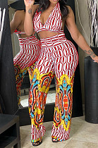 Fashion Positioning Printing Hang A Neck Chest Warp Flared Long Pant Two-Piece NYZ6021