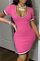 Fashion Casual Pure Color Package Buttocks Dress XMY042