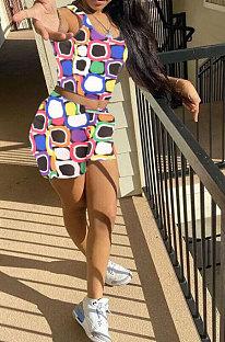 Fashion Colorful Printing Vest Shorts Sets ZYL2021