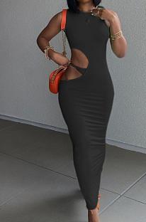 فستان نسائي كاجوال ضيق بلون جانبي مفتوح الأرداف بدون أكمام TRS1155