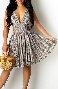 أزياء مثير عميق الخامس فستان الطباعة QSS51009