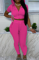 Euramerican Casual Women Hoodie Zipper Short Sleeve Shorts Sets YYF8222