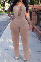 Personality Pure Color Net Yarn Jumpsuits Two-Pieces AYL88801
