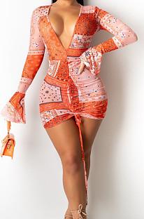 فستان ضيق مثير برقبة على شكل V وأكمام طويلة مزين بتفاصيل مزخرفة SY8814