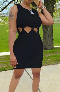 فستان كاجوال من Euramerican بلون نقي بدون أكمام بعقدة PQ8047