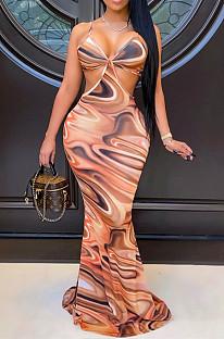 أزياء عارضة طباعة حبال فستان طويل عارية الذراعين SY8812