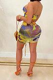 مثير الصيف الملونة 2 قطعة مجموعات قبالة الكتف قمم كشكش التنانير Bodycon MLM9069