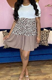 فستان قصير بتصميم ليوبارد متعدد الألوان KXL814