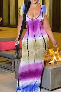 فستان طويل مثير بياقة على شكل V وأكمام قصيرة LJJ6062