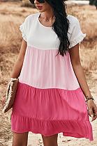 فستان عطلة فضفاض غير رسمي بأكمام قصيرة مرقع DYY2123032