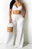 مثير المرأة لون نقي عزى حزام المعتوه أنبوب أعلى فضفاض السراويل الطويلة الرسن الرقبة أزياء مجموعات DY6966