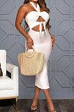 لون نقي حفرة بار مثير الرسن الرقبة ضمادة عارية الذراعين فستان ميدي GL6386