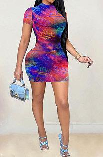 Tie Dye Printing Fashion Casual Short Sleeve Mini Dress GB8012