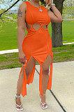 فستان نسائي طويل بدون أكمام بشراشيب لون نقي ALF9001