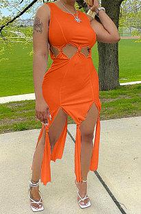 Pure Color Women Tassel Sleeveless Long Dress ALF9001