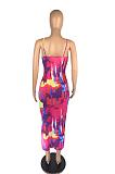 المرأة طباعة مثير عارضة الرسن فستان طويل AB6647