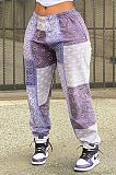 طباعة بنطلون فضفاض كاجوال بألوان الخياطة AB6645