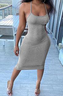 Fashion عارضة لون نقي عزى حزام فستان ميدي عارية الذراعين GLS8167
