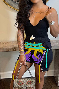 Euramerican Sexy Vest Print Shorts Rope Sets HY5224