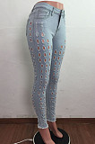 Euramerican Wash Water Hole Stretch Denim Pants LA3270. سروال طويل من قماش الدنيم