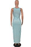 مثير عميق الخامس شريط طباعة سترة فستان طويل HY5228