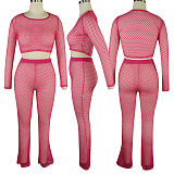 منظور المرأة لون نقي صافي هول سروال طويل قطعتين QQM4292