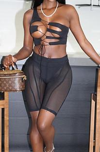 Irregularity Bind Sexy Net Yarn Tight Shorts Three Piece BN9282