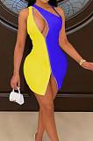 فستان ملهى ليلي بسحاب مزدوج متناسق اللون HH8977
