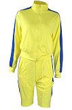 طية صدر السترة الرقبة سستة اللون مطابقة طويلة الأكمام الصوف الرياضة عارضة السراويل مجموعات ME3084