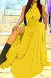 لون نقي عصري ضمادة مفتوحة شوكة فستان طويل بدون ظهر BLE2375