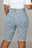بنطال جينز مغسول بفتحة خصر متوسط بنطلون جينز غير رسمي بنصف YYZ860