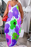 فستان عزى للنساء بحزام التعادل صبغ طباعة فضفاض بالإضافة إلى فستان طويل FA7235
