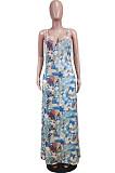 فستان طويل مع حزام فضفاض وطبعات Euramerican WY6804
