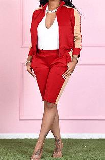 Lapel Neck Zipper Color Matching Long Sleeve Fleece Sport Casual Shorts Sets ME3084