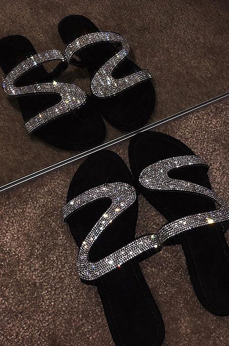 شباشب حذاء من الكريستال حذاء مسطح للشاطئ XK9060