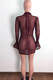 فستان كاجوال بأكمام واسعة مكشكشة ومنظور شبكي LA3279