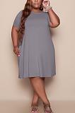 فستان فضفاض غير رسمي نسائي رمادي اللون نقي بالإضافة إلى الحجم TC079