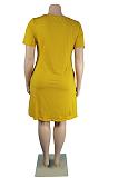 ذهبي أصفر نسائي كاجوال لون نقي بالإضافة إلى حجم فستان فضفاض TC079